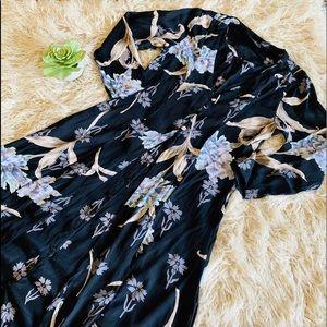 Vintage 90's Floral Rayon Maxi Grunge Dress